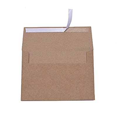 A7 Brown Kraft Paper Invitation 5 x 7 Envelopes - 50 Pack,Self Seal,For 5x7 Cards  Perfect for Weddings, Invitations, Baby Shower  Stationery For General, Office   5.25 x 7.25 Inches from AZAZA