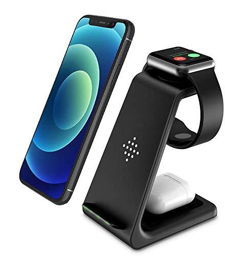 Carregador sem fio, 3 em 1 estação de carregamento sem fio com certificação Qi para iPhone 12/11/11pro/11pro Max/X/XS/XR/Xs Max/8/8 Plus, Apple Watch Series 6/5/4/3/2, AirPods 2/Pro, Samsung