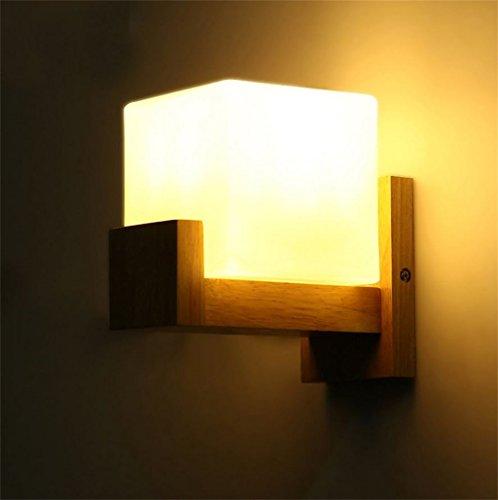 FANDBO@ Nordic European Minimalist Eiche Holz Wand Lampe Schlafzimmer Nachttisch LED E27 Wandleuchte
