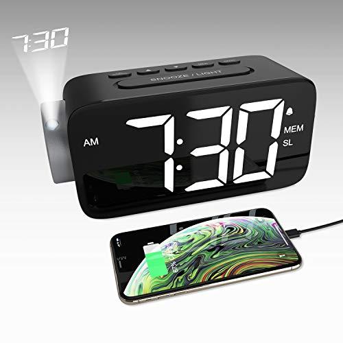 YISSVIC Despertador Digital con Proyector, Reloj Despertador Proyección con Rotación 180° con FM Radio, 15 Niveles Volumen, Pantalla LED 6,5'', 12/24 Hora, Snooze y Cable USB