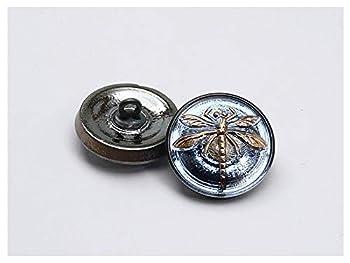 1 pcs Czech Glass Button Hand Painted Size 8  18.0mm   3/4    Blue Montana Gold Dragonfly Czech Glass