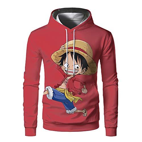 Yepo Anime One Piece Monkey D Luffy Zoro 3D Lightweight Unisex Adult Pocket Ployester Hoodie Sweater WXX02889GC-Large