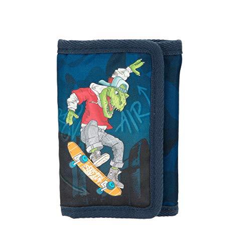 Depesche 11027 Portemonnaie im Dino World Design, blau mit skatendem T-Rex als Motiv, ca. 13 x 9 x 1,8 cm groß, mit Fächern für Münzen, Scheine und Karten