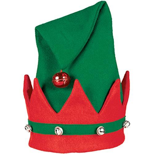 Amscan 393509-55 - Mütze Elf mit Glöckchen, rot-grün, Nikolaus, Santa Claus, Weihnachten, Heilig Abend, Fasching, Karneval, Mottoparty