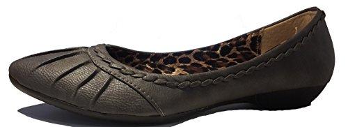 Eleganckie czółenka na niskim obcasie, baleriny w kolorze czarnym lub szarym, w stylu leopardowym, bardzo eleganckie, damskie buty, buty FLP103, super wygodne buty, szary - szary leopard (Grau Leopard) - 40 EU