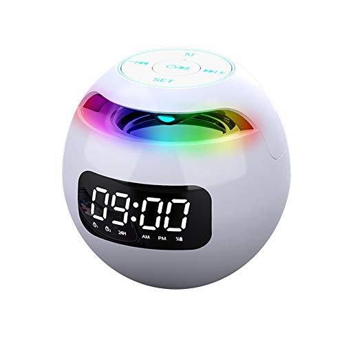 Altavoz Bluetooth inalámbrico digital reloj despertador portátil con forma de bola inteligente altavoz doble alarma mini mesita de noche reloj despertador para el hogar dormitorio