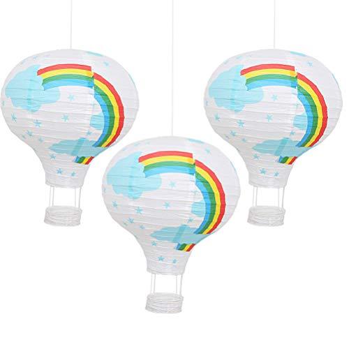 Mobestech que cuelga la linterna de papel del arco iris del globo del aire caliente para los festivales del hotel del centro comercial Decoración 3pcs (azul y blanco)