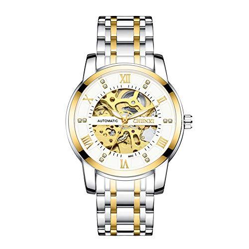 Reloj Automático Hombre Mujer Analógicos Esqueleto, Acero Inoxidable Esqueleto Impermeable Números Romanos Luminoso Diamante Dial Relojes de Pulsera