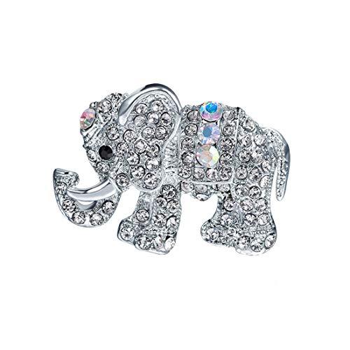 Ivyday Charm Elephant Animal Shape Brooch Pins Crystal Silver Plated Brooch for Women