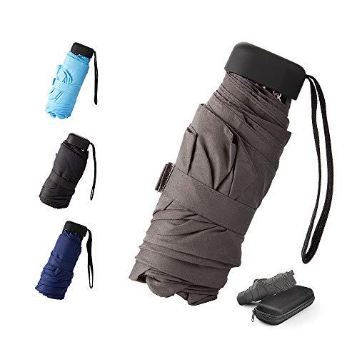 Mini -Schirm Mini Regenschirm - Pocket Taschenschirm -faltender Regenschirm-UV-undurchlässig inkl. Schirm-Tasche & Reise-Etui – klein, leicht & kompak windsicher, stabil (Grau)