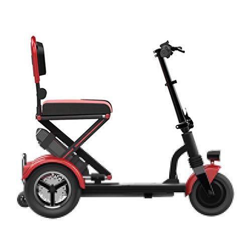 ZHAORU Carros médicos eléctricos motorizados Scooter de Movilidad Plegable Ligero de 3 Ruedas para Personas Mayores, discapacitados o Adultos discapacitados