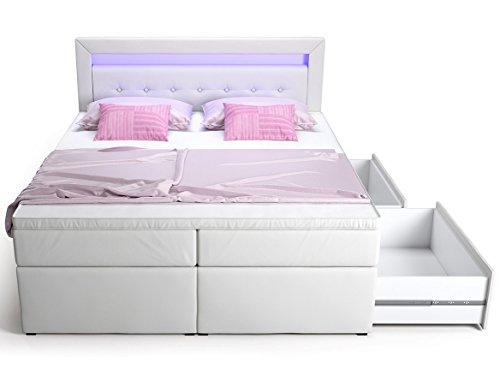 Box letto matrimoniale matrimoniale letto hotel Delia con cassetto letto a LED in ecopelle bianco 160 180 x 200 cm letto matrimoniale matrimoniale matrimoniale topper (160 x 200 cm)