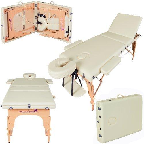 Massage Imperial® - tragbare Profi-Massageliege Chalfont - leicht 16kg- 3-teilig - Creme