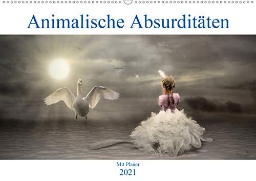 Animalische Absurditäten mit Planer (Wandkalender 2021 DIN A2 quer)