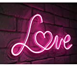 """Britrio LED Neon Light Sign, 17""""x8"""" Pink Love Neon Sign..."""