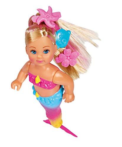 Simba 105733318 - Evi Love Swimming Mermaid / Evi als Meerjungfrau / kann richtig schwimmen / mit Fischfigur / Ankleidepuppe/ 12cm, für Kinder ab 3 Jahren