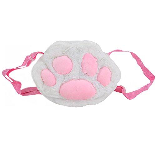 ABBY Mignon 3D Chat Griffe Forme Messenger Bag Sac à bandoulière Portable Zipper Wallet Purse/Blanc