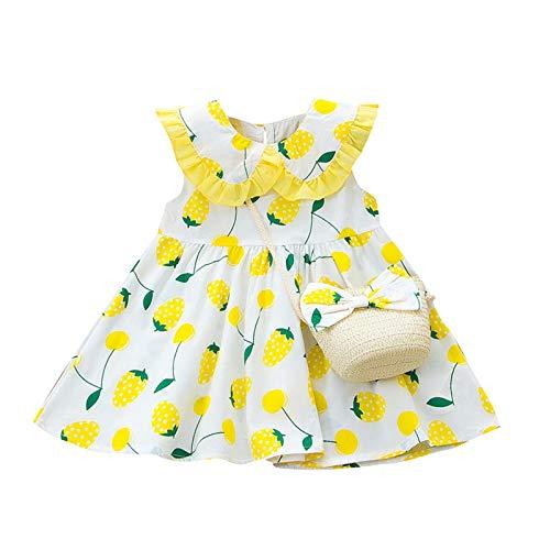 LianMengMVP Mädchen Erdbeer Print Kleid Kinder Baby Casual Prinzessin Tasche Kleid Set Outfits für Hochzeits Brautjungfern Festzug Partei Festliches Kleid