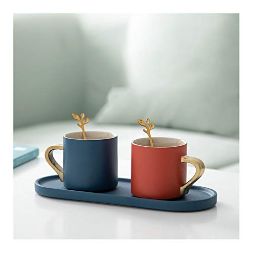 YHshop Taza de café Coffee Par de la Taza de la Taza de la Pareja única de la Taza de Oro electrónica de la Taza de la Taza de café Espresso de cerámica, cumpleaños, Aniversario, Boda
