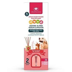 CRISTALINAS. Recambios Ambientador & Absorbe Olor Mikado para Mascotas. 0% Alcohol. Mas de 4+4 semanas de duracion. 2x30 ml. Aroma (Frutos Rojos) (Unidad)