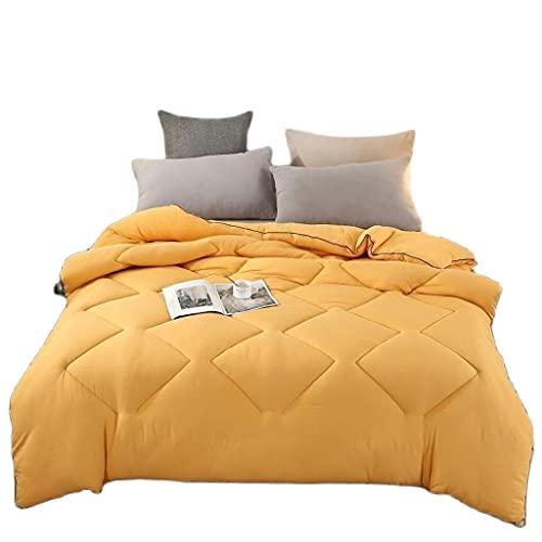 Aiglen Super Warm Four Seasons 1-5kg Edredón de cama tamaño king engrosado tamaño queen doble edredón familiar (Color : Orange, Size : 180x220cm 3kg)