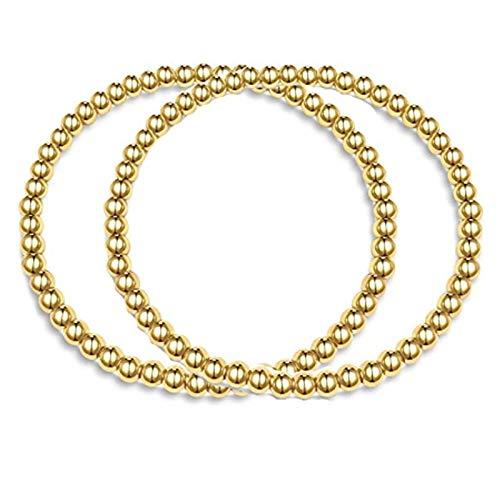 SMCTCRED Las Pulseras de Oro 14K Plateado Oro del Acero Inoxidable con Cuentas de Bolas para Las Mujeres apilable Pulsera del Estiramiento elástico