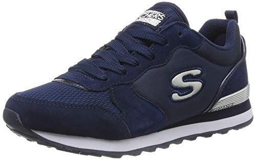 Skechers Women's RETROS-OG 85-GOLDN GURL Trainers, (Navy Suede/Mesh/Nylon/Silver Trim Nvy), 38 EU