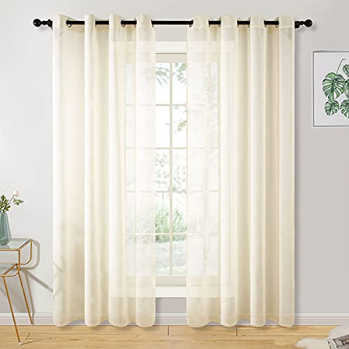 GELUOLI Beige Sheer Curtains 84 Inch Curtains 2 Panel Set Grommet Grommet Drape Semi Transparent Light Filtering Window Curtains for Kitchen Farmhouse Living Room Curtain Liners