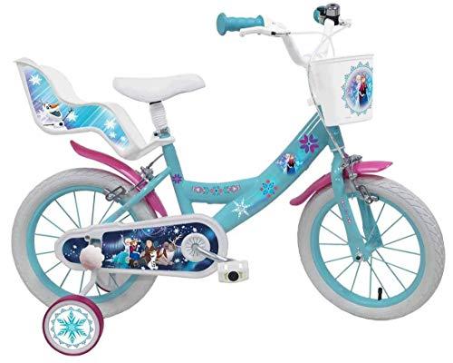 Mondo Toys - Bici Mod. FROZEN II per bambino / bambina - misura 16'' - rotelle e freno anteriore / posteriore - colore azzurro / rosa - 25283