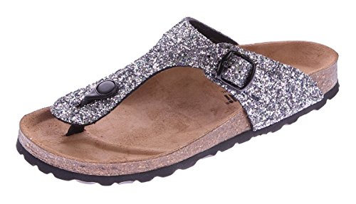 Gemini Damen Bio Pantoletten Zehentrenner Glitzer-Effekt Schwarz-Multi Sandalen Leder-Kork-Fußett Schuhe Latschen 36