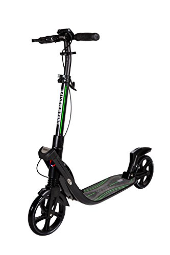 Mad Wheels Big Wheel Kick Scooter Urban Master, Patinete Urbano de Grandes Ruedas de 200 mm, Plegable en 1 Segundo con Freno de Manillar y Doble Suspension para Niños y Adulto (Negro)