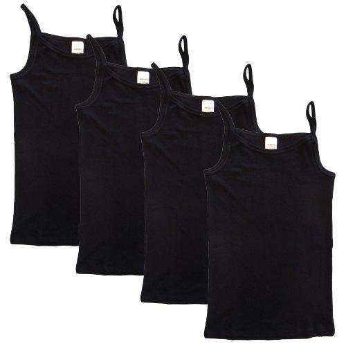 HERMKO 2460 4er Pack Mädchen Träger Top, Unterhemd aus Bio-Baumwolle, Farbe:schwarz, Größe:164
