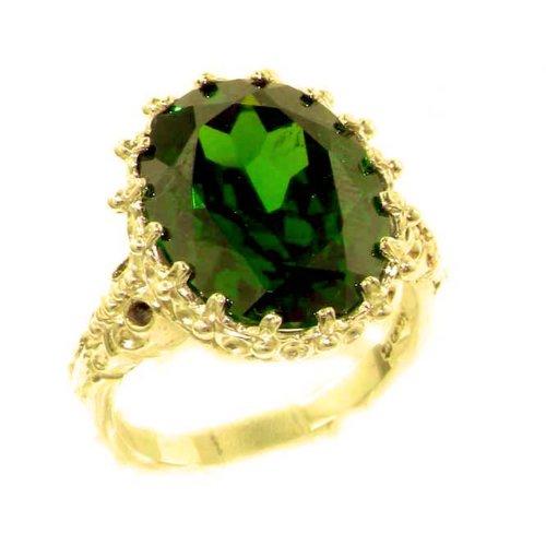 Damen-Ring solide 9 Karat Gold Gelbgold Smaragd - Verfügbare Größen : 50 bis 64
