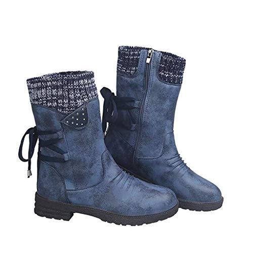 UMore Botas de Mujer Otoño Invierno 2020 Tacon Bajo Zapatos Largas Botas Forrado de Piel Antideslizante Cómodo Cremallera Hebilla