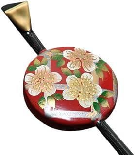 [ 京都きもの町 ] 一本挿し かんざし 平玉 かんざし 赤×黒 蒔絵風桜模様 花しおり 0867-1