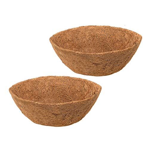 HH-LIFE 2 Set di cestini rotondi in fibra di cocco, Ø 20cm(8 inch) sostituibili con rivestimento in coco, per fioriere in cocco naturale, per cesti da appendere in interni ed esterni, portico