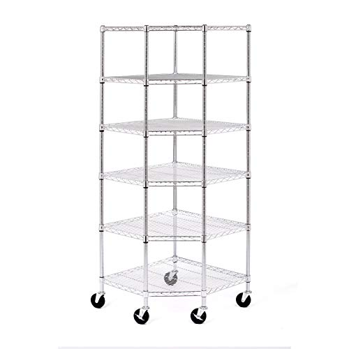 "Seville Classics UltraDurable Commercial-Grade 6-Tier NSF-Certified Corner Steel Wire Shelving with Wheels, 28"" W x 28"" D x 72"" H"