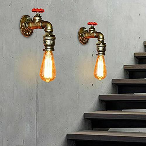 2 lámparas de pared E27 retro industrial, lámpara LED de tubo de metal, lámpara de pared, tubo de agua, lámpara industrial para escaleras, lámpara exterior de hierro