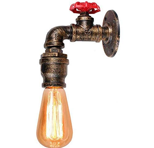 Dkdnjsk Rustic Pendent Light Fixture Water Pipe Lamp Lighting Vintage Industrial Water Wall Pipe Steam Punk (Copper) American Country Water Pipe Wall Lamp Retro Industrial Style Cafe Loft Wall-mounted