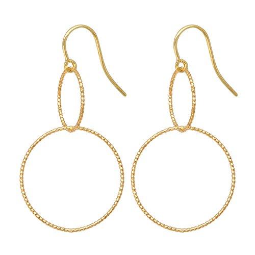 Tom Shot Ohrringe Ohrhänger Damen Gold 2 Ringe | Großer und Kleiner Ring Untereinander | Femininer Zarter Schmuck | Messing Versilbert - 21or0517g