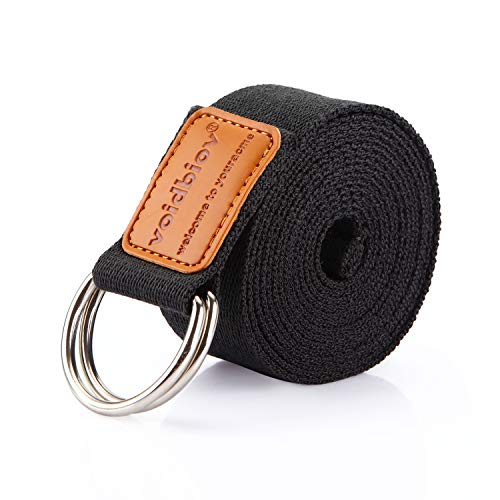 voidbiov Yoga Strap 6ft 8ft 10ft Durable Cotton Belt with Adjustable D-Ring Buckle, Perfect for Holding Poses Improving Flexibility and Physical Therapy