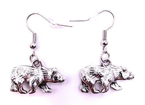 H-Customs Eisbär Bär Polarbär Ohrringe Ohrschmuck Anhänger Silber Metall