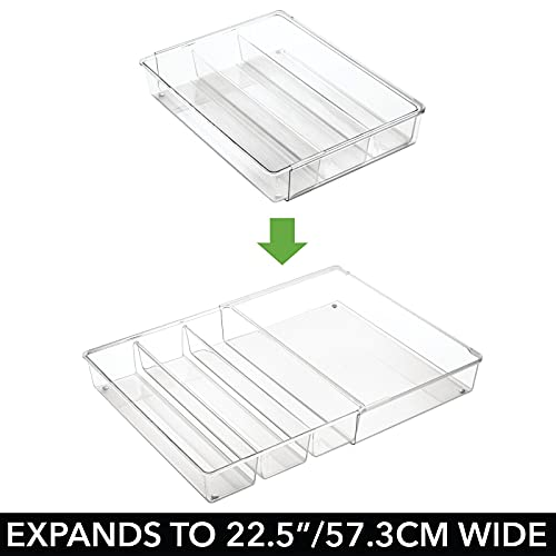mDesign Adjustable, Expandable 4 Compartment Kitchen Cabinet Drawer Organizer - Divided Sections for Cutlery, Serving Spoons, Cooking Utensils, Gadgets - BPA Free, Food Safe - Clear