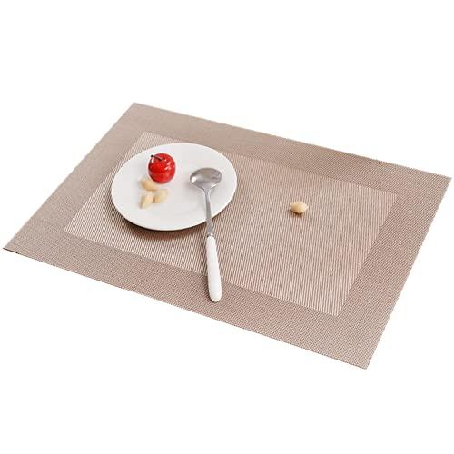 Blingpony Juego de 6 alfombrillas de mesa individuales, lavables, antideslizantes, con aislamiento térmico, de vinilo, 45 x 30 cm