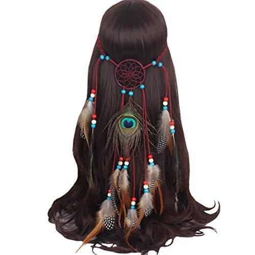 Boomly Femmes Fille Bandeau plume vintage Coiffe de Bohême Hippie Headpiece Coiffe de plumes Accessoires cheveux chic Pour le carnaval d'halloween