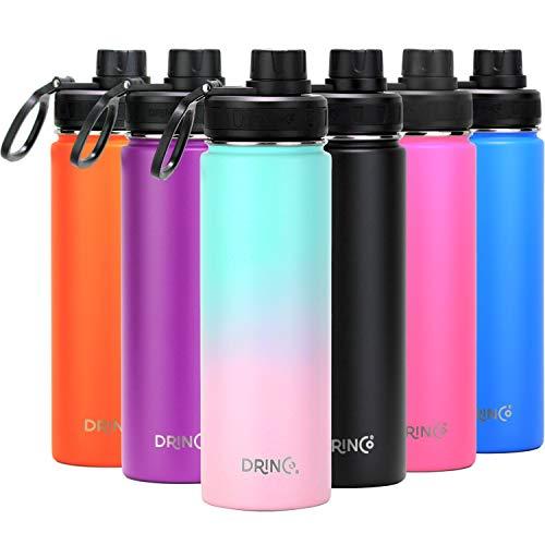DRINCO - Botella de agua de acero inoxidable de doble pared aislada al vacío con tapas de boca ancha | Perfecto para viajes, camping, senderismo (20 onzas, macaron)