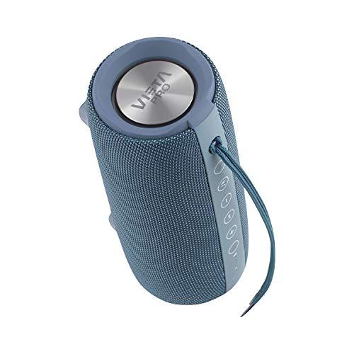 Altavoz Upper 2 de Vieta Pro, con Bluetooth 5.0, True Wireless, Micrófono, Radio FM, 10 Horas de autonomía, Resistencia al Agua IPX6, Entrada Auxiliar y botón Directo al Asistente Virtual; Color Azul