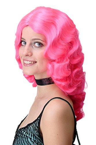 WIG ME UP - GFW1860-TF2315 Perruque dame classique Hollywood diva femme fatale vagues ondulée longue volumes rose pink