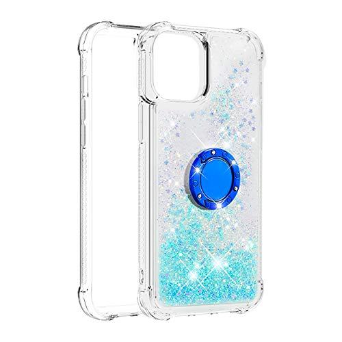 Hülle für iPhone 12 Pro Max (6.7inch) Diamant Ring Flüssig Treibsand Silikon TPU Bumper Hülle für iPhone 12 Pro Max (6.7inch)(Fluoreszierende grüne Sterne)