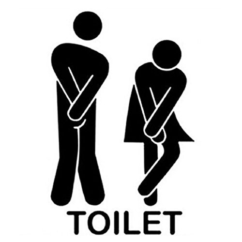 """WC Aufkleber Türaufkleber Badezimmer Toiletten Wandtattoo DIY 13*22cm Wandaufkleber PVC Abnehmbare Wanddeko Bad Waschraum Deko, """"Toilet"""" schwarz"""